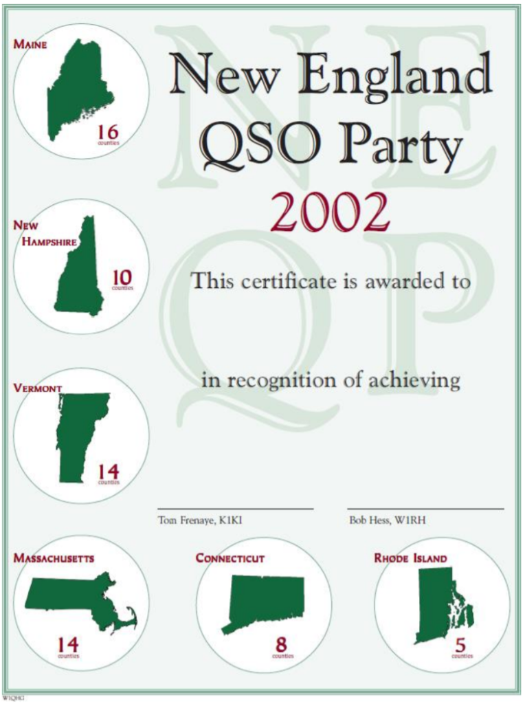 Blank NEQP certificate 2002